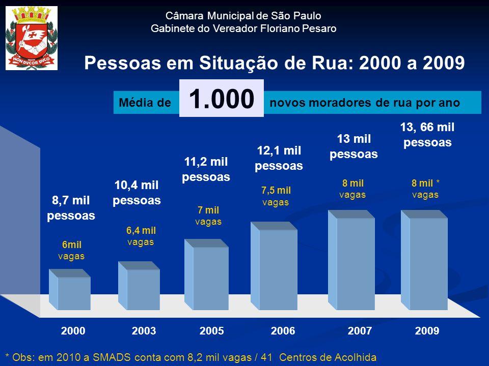 Pessoas em Situação de Rua: 2000 a 2009 Média de novos moradores de rua por ano 1.000 200620052003 6,4 mil vagas 7 mil vagas 7,5 mil vagas 2007 8 mil