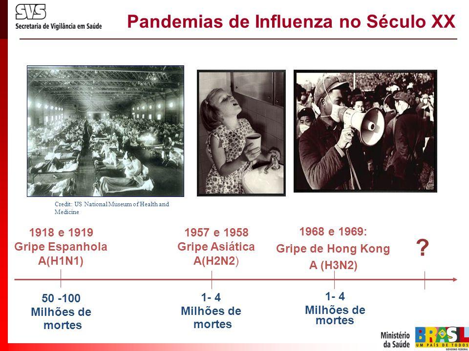 1957 e 1958 Gripe Asiática A(H2N2) 1968 e 1969: Gripe de Hong Kong A (H3N2) 50 -100 Milhões de mortes Credit: US National Museum of Health and Medicin