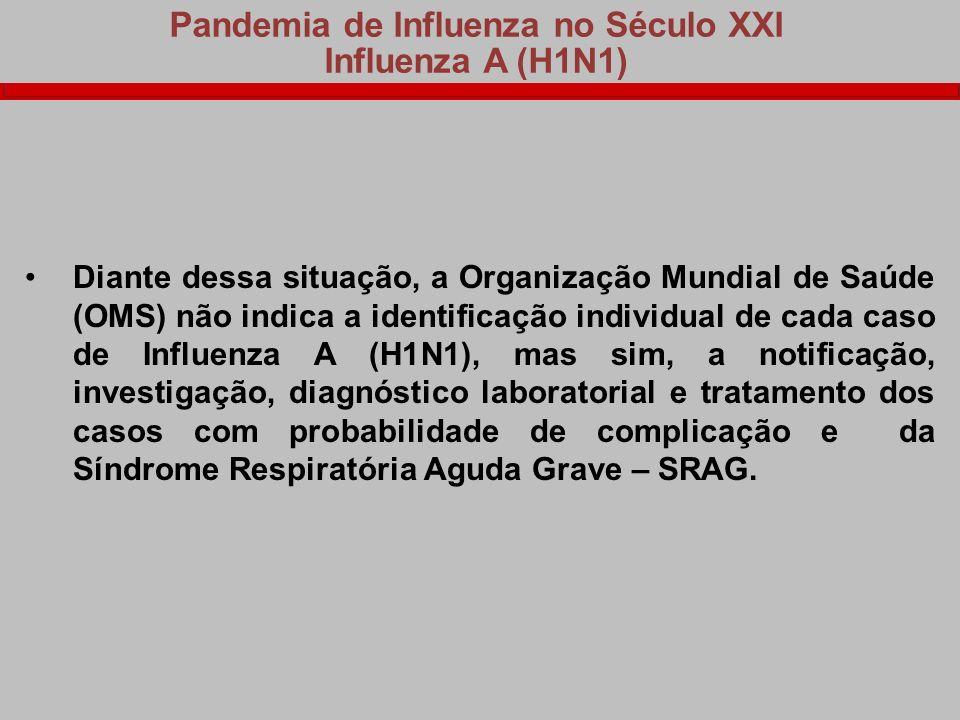Pandemia de Influenza no Século XXI Influenza A (H1N1) Diante dessa situação, a Organização Mundial de Saúde (OMS) não indica a identificação individu