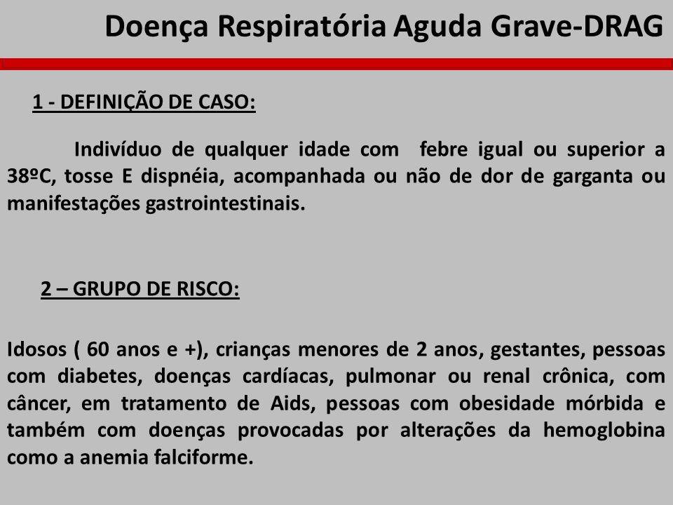 Doença Respiratória Aguda Grave-DRAG 1 - DEFINIÇÃO DE CASO: Indivíduo de qualquer idade com febre igual ou superior a 38ºC, tosse E dispnéia, acompanh