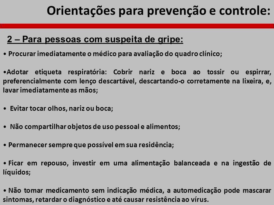 Orientações para prevenção e controle: Procurar imediatamente o médico para avaliação do quadro clínico; Adotar etiqueta respiratória: Cobrir nariz e