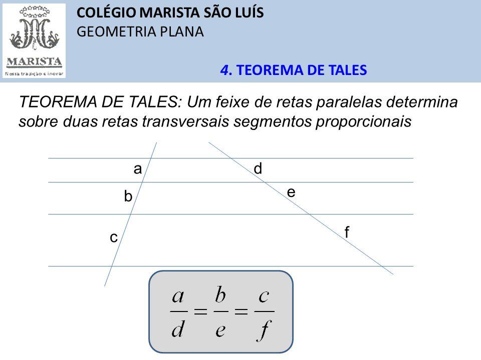 COLÉGIO MARISTA SÃO LUÍS GEOMETRIA PLANA QUESTÕES Solução: 4 4 A bissetriz de um ângulo interno de um triângulo divide o lado oposto em segmentos proporcionais.