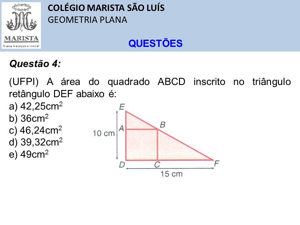 COLÉGIO MARISTA SÃO LUÍS GEOMETRIA PLANA QUESTÕES Questão 4: (UFPI) A área do quadrado ABCD inscrito no triângulo retângulo DEF abaixo é: a) 42,25cm 2