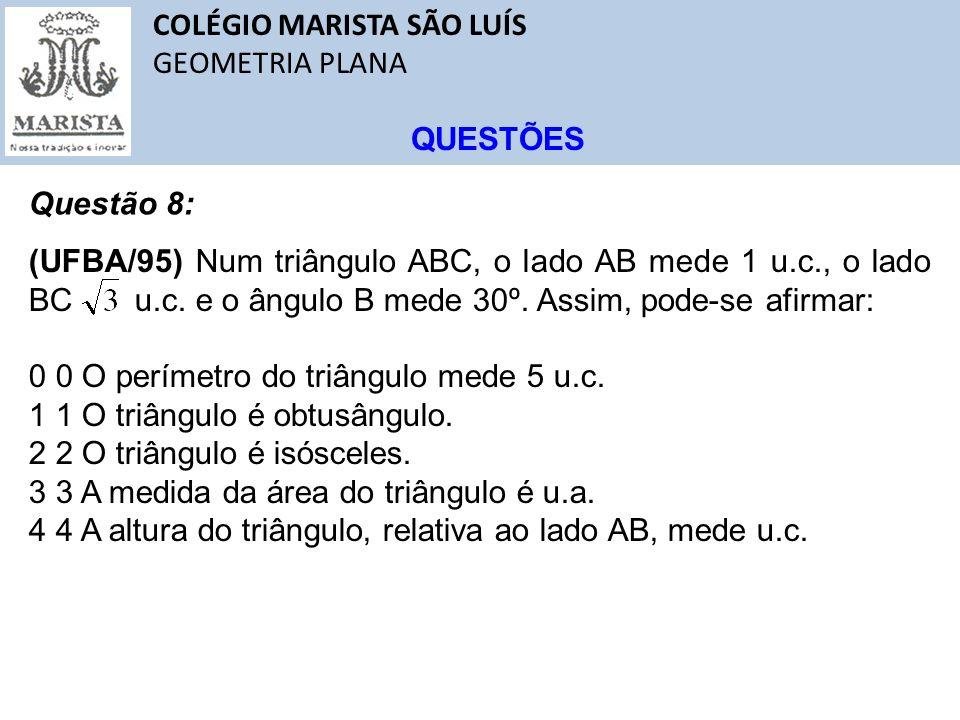 COLÉGIO MARISTA SÃO LUÍS GEOMETRIA PLANA QUESTÕES Questão 8: (UFBA/95) Num triângulo ABC, o lado AB mede 1 u.c., o lado BC u.c. e o ângulo B mede 30º.