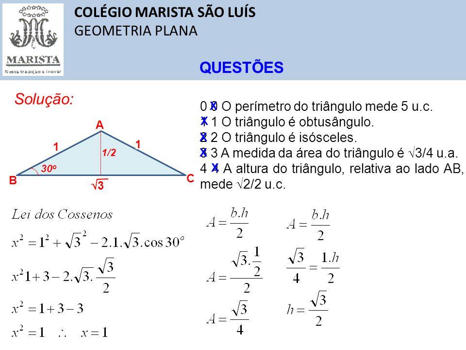 COLÉGIO MARISTA SÃO LUÍS GEOMETRIA PLANA QUESTÕES Solução: A B C 1 3 30 o x 1 0 0 O perímetro do triângulo mede 5 u.c. 1 1 O triângulo é obtusângulo.