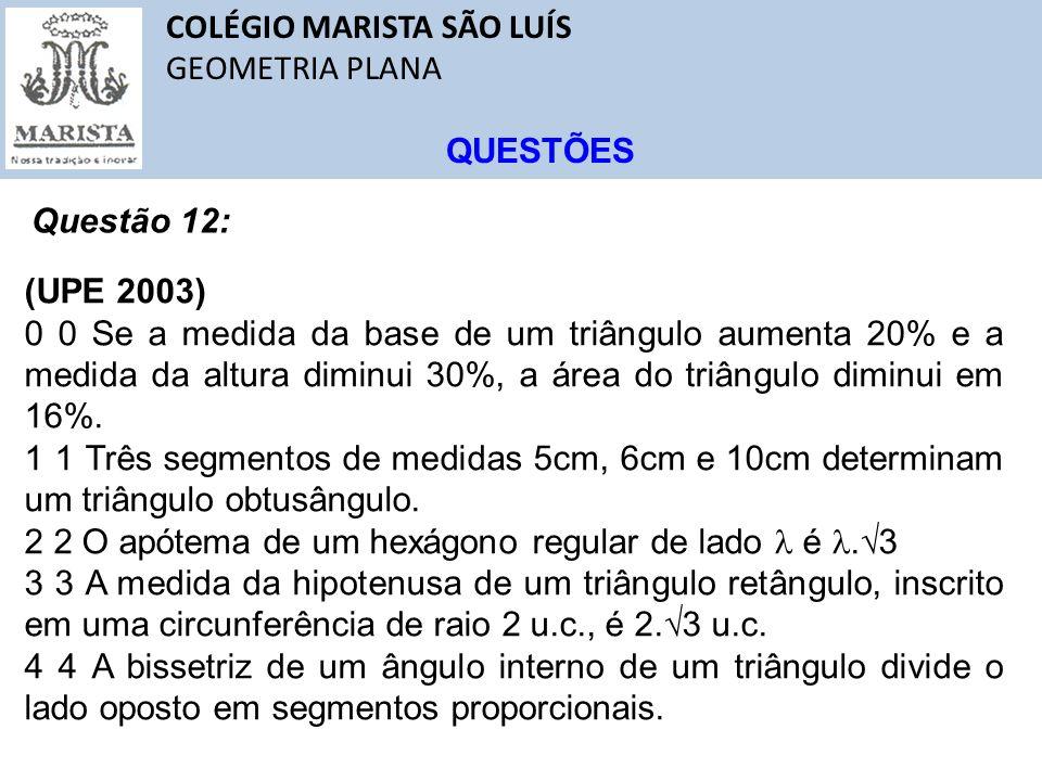 COLÉGIO MARISTA SÃO LUÍS GEOMETRIA PLANA QUESTÕES Questão 12: (UPE 2003) 0 0 Se a medida da base de um triângulo aumenta 20% e a medida da altura dimi