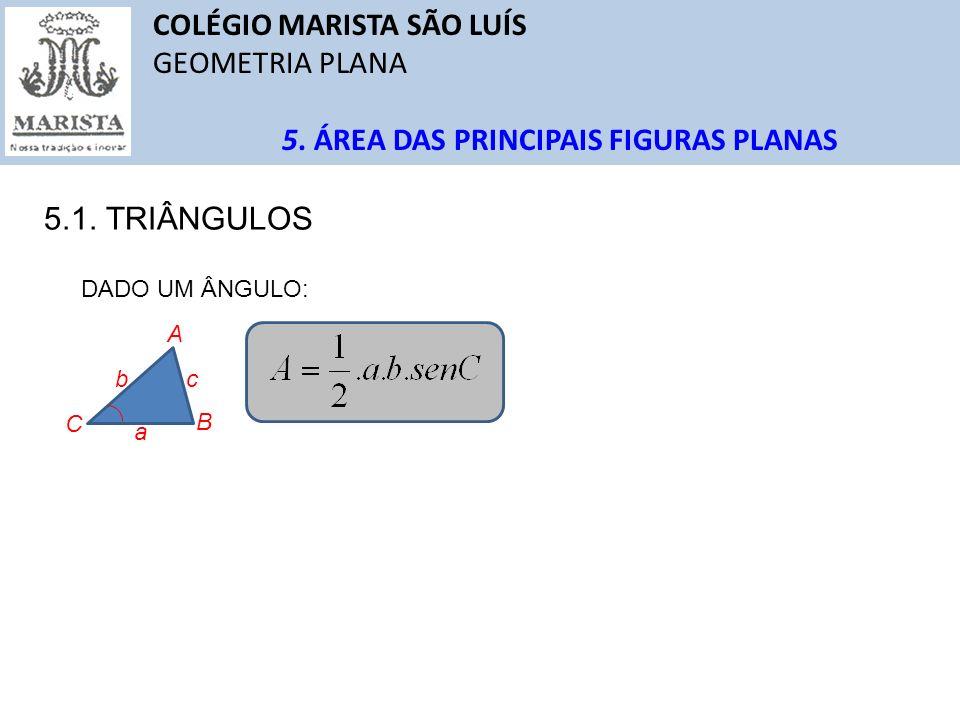 COLÉGIO MARISTA SÃO LUÍS GEOMETRIA PLANA QUESTÕES Solução: A B C 1 3 30 o x 1 0 0 O perímetro do triângulo mede 5 u.c.