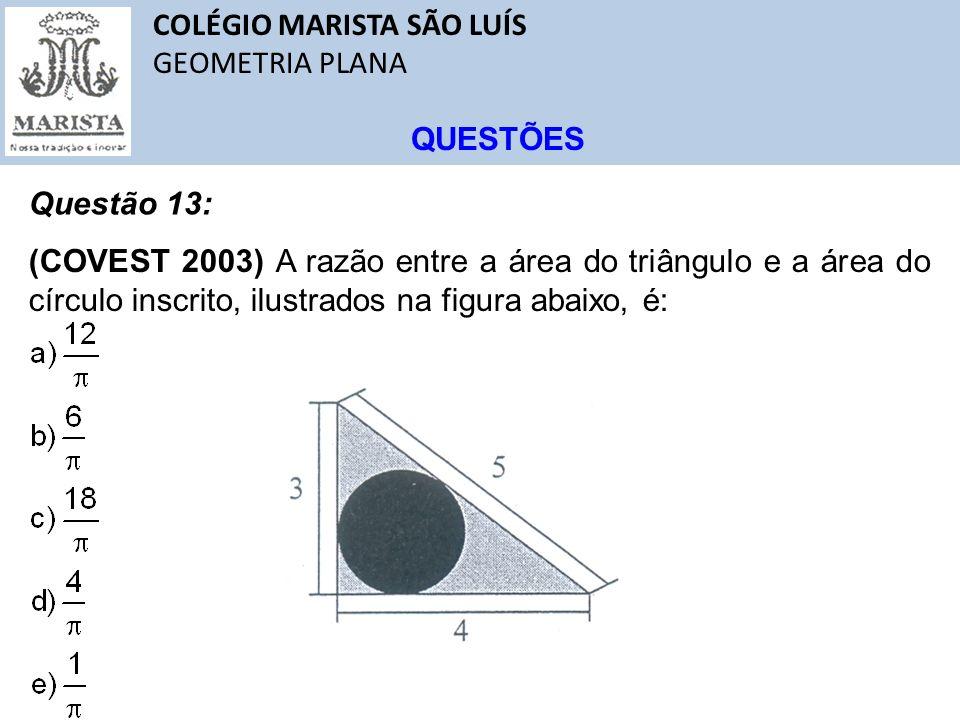 COLÉGIO MARISTA SÃO LUÍS GEOMETRIA PLANA QUESTÕES Questão 13: (COVEST 2003) A razão entre a área do triângulo e a área do círculo inscrito, ilustrados