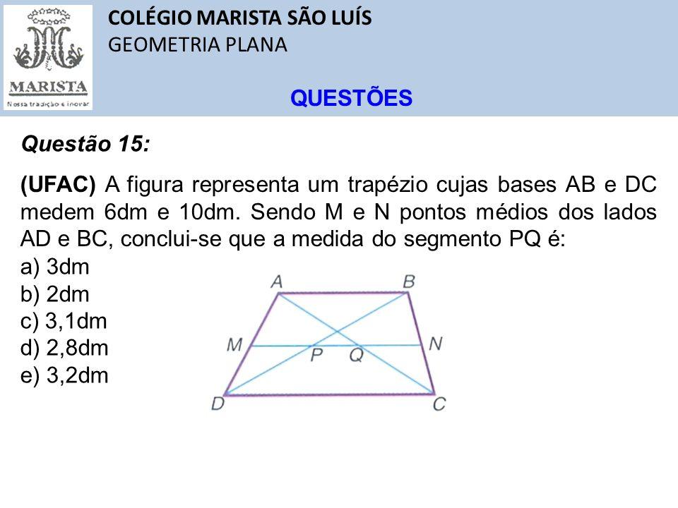 COLÉGIO MARISTA SÃO LUÍS GEOMETRIA PLANA QUESTÕES Questão 15: (UFAC) A figura representa um trapézio cujas bases AB e DC medem 6dm e 10dm. Sendo M e N