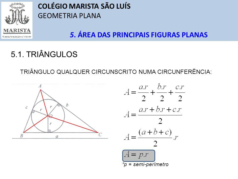 COLÉGIO MARISTA SÃO LUÍS GEOMETRIA PLANA 5. ÁREA DAS PRINCIPAIS FIGURAS PLANAS 5.1. TRIÂNGULOS TRIÂNGULO QUALQUER CIRCUNSCRITO NUMA CIRCUNFERÊNCIA: *p