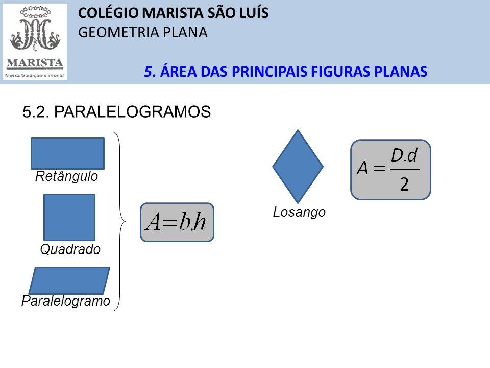 COLÉGIO MARISTA SÃO LUÍS GEOMETRIA PLANA 5. ÁREA DAS PRINCIPAIS FIGURAS PLANAS 5.2. PARALELOGRAMOS Retângulo Quadrado Paralelogramo Losango