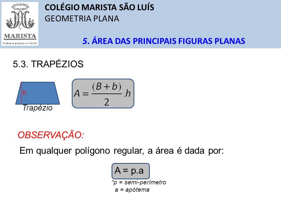 COLÉGIO MARISTA SÃO LUÍS GEOMETRIA PLANA 5. ÁREA DAS PRINCIPAIS FIGURAS PLANAS 5.3. TRAPÉZIOS Trapézio h OBSERVAÇÃO: Em qualquer polígono regular, a á