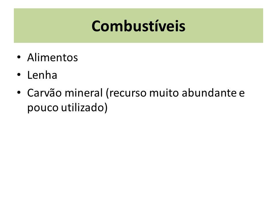 Combustíveis Alimentos Lenha Carvão mineral (recurso muito abundante e pouco utilizado)