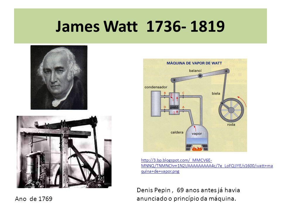 James Watt 1736- 1819 http://3.bp.blogspot.com/_MMCV6E- MNNQ/TNMNChm1N2I/AAAAAAAAA4c/7e_LoFQjIYE/s1600/watt+ma quina+de+vapor.png Ano de 1769 Denis Pe