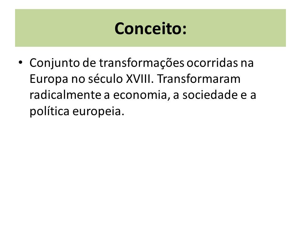 Conceito: Conjunto de transformações ocorridas na Europa no século XVIII. Transformaram radicalmente a economia, a sociedade e a política europeia.