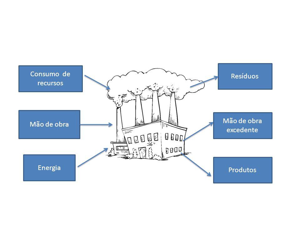 Consumo de recursos Energia Mão de obra Resíduos Produtos Mão de obra excedente