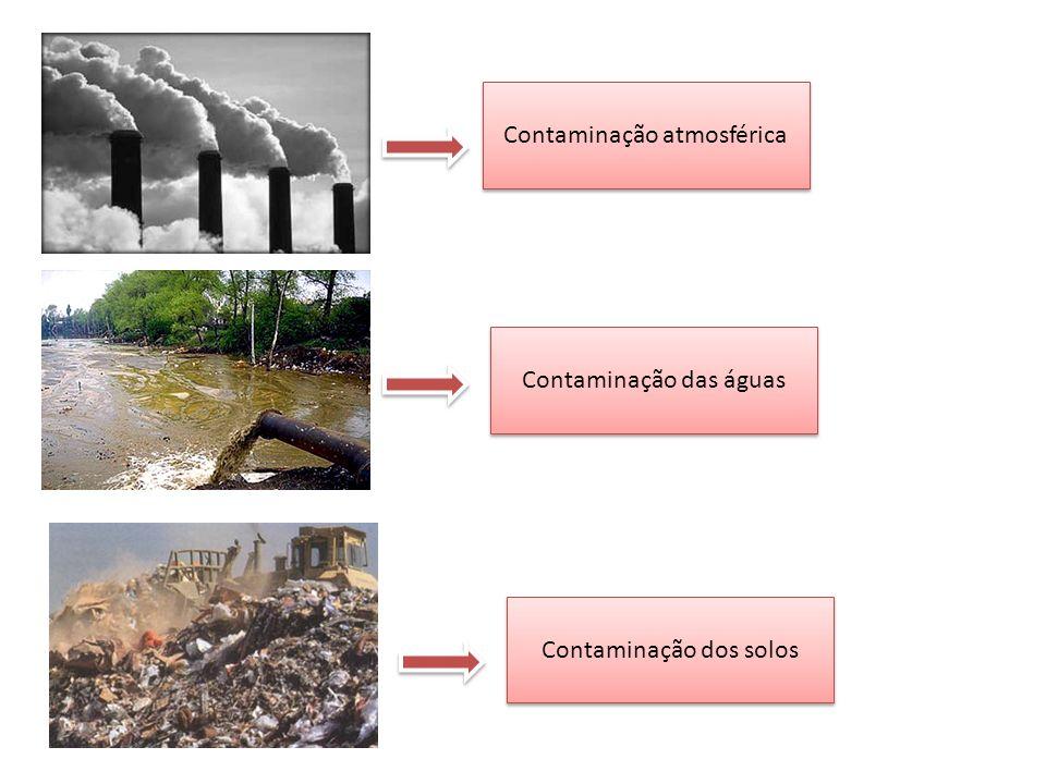 Contaminação atmosférica Contaminação das águas Contaminação dos solos