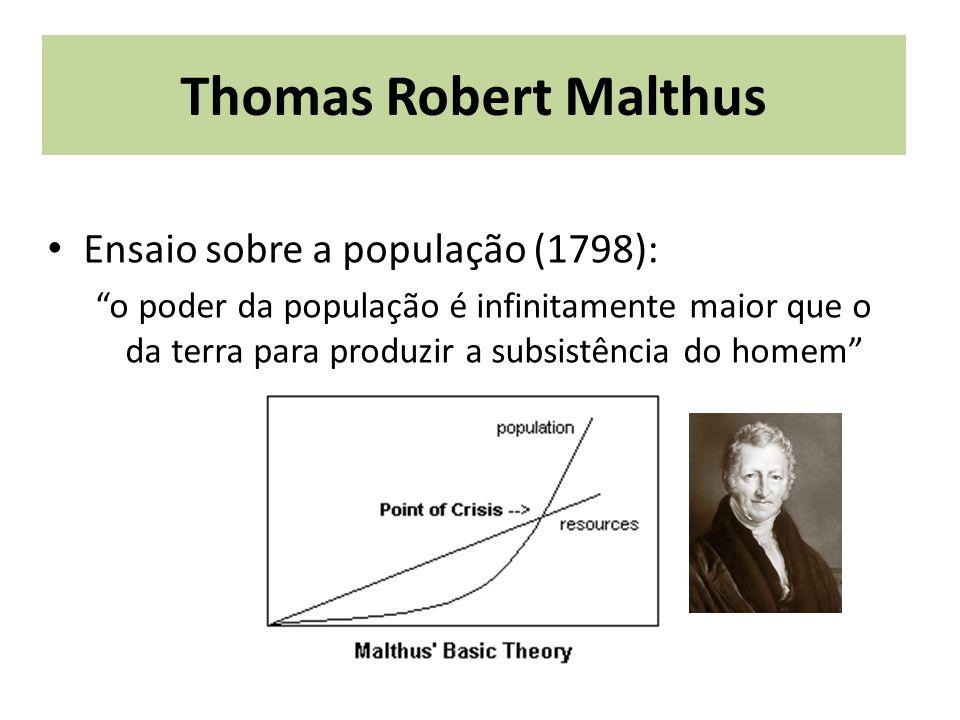 Thomas Robert Malthus Ensaio sobre a população (1798): o poder da população é infinitamente maior que o da terra para produzir a subsistência do homem