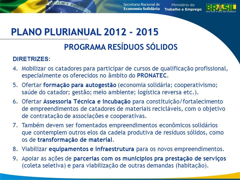 Secretaria Nacional de Economia Solidária PLANO PLURIANUAL 2012 - 2015 PROGRAMA RESÍDUOS SÓLIDOS DIRETRIZES: 4.Mobilizar os catadores para participar