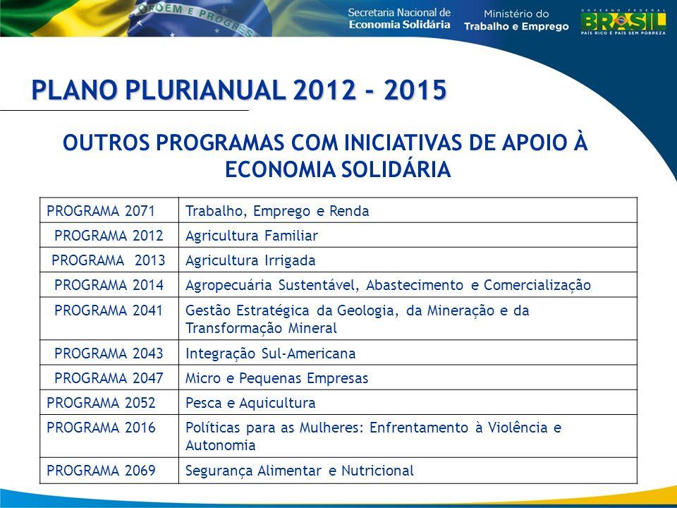 Secretaria Nacional de Economia Solidária PLANO PLURIANUAL 2012 - 2015 OUTROS PROGRAMAS COM INICIATIVAS DE APOIO À ECONOMIA SOLIDÁRIA PROGRAMA 2071Tra