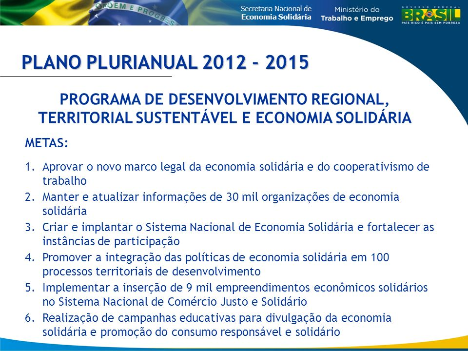 Secretaria Nacional de Economia Solidária PLANO PLURIANUAL 2012 - 2015 PROGRAMA DE DESENVOLVIMENTO REGIONAL, TERRITORIAL SUSTENTÁVEL E ECONOMIA SOLIDÁ
