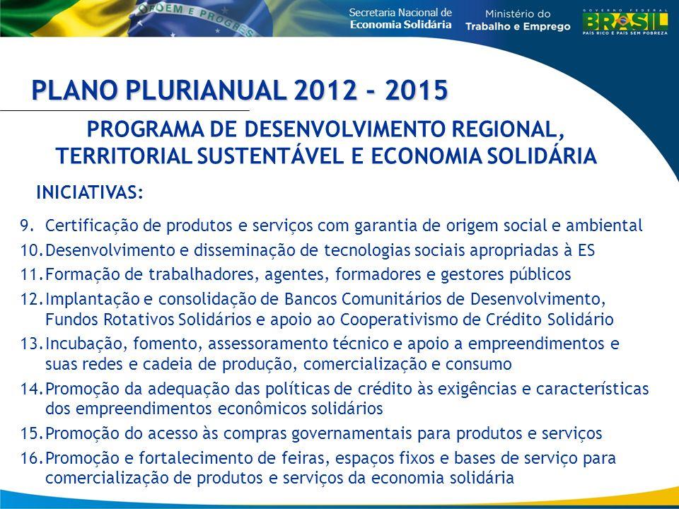 Secretaria Nacional de Economia Solidária PLANO PLURIANUAL 2012 - 2015 9.Certificação de produtos e serviços com garantia de origem social e ambiental
