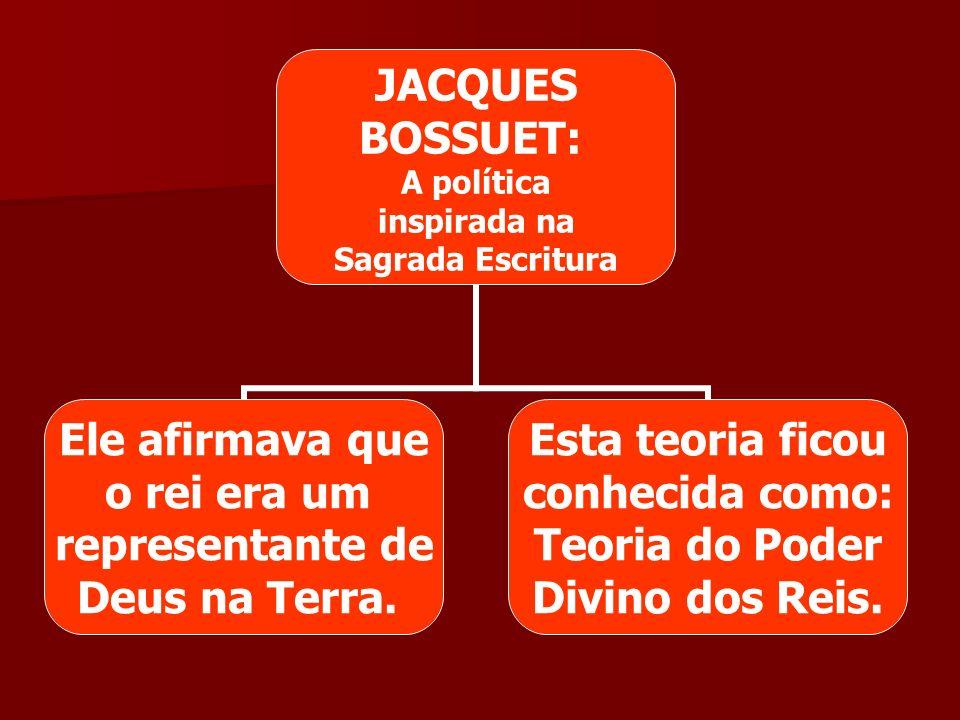 JACQUES BOSSUET: A política inspirada na Sagrada Escritura Ele afirmava que o rei era um representante de Deus na Terra. Esta teoria ficou conhecida c