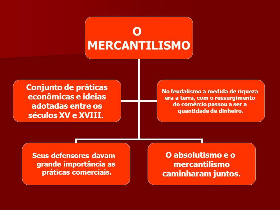 O MERCANTILISMO Seus defensores davam grande importância as práticas comerciais. O absolutismo e o mercantilismo caminharam juntos. Conjunto de prátic