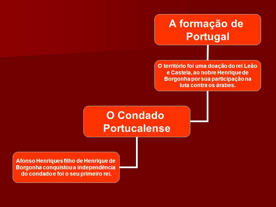 A formação de Portugal O território foi uma doação do rei Leão e Castela, ao nobre Henrique de Borgonha por sua participação na luta contra os árabes.