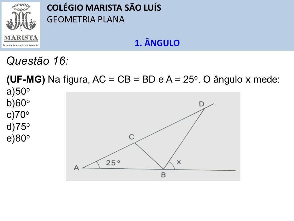 COLÉGIO MARISTA SÃO LUÍS GEOMETRIA PLANA 1. ÂNGULO Questão 16: (UF-MG) Na figura, AC = CB = BD e A = 25 o. O ângulo x mede: a)50 o b)60 o c)70 o d)75