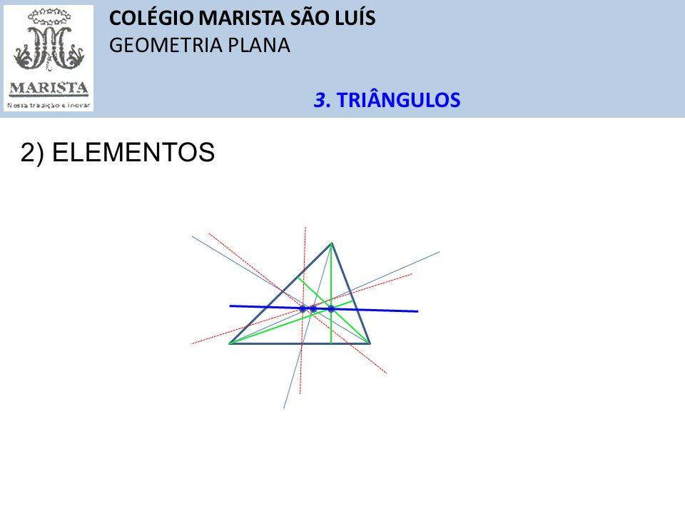 COLÉGIO MARISTA SÃO LUÍS GEOMETRIA PLANA 3. TRIÂNGULOS 2) ELEMENTOS