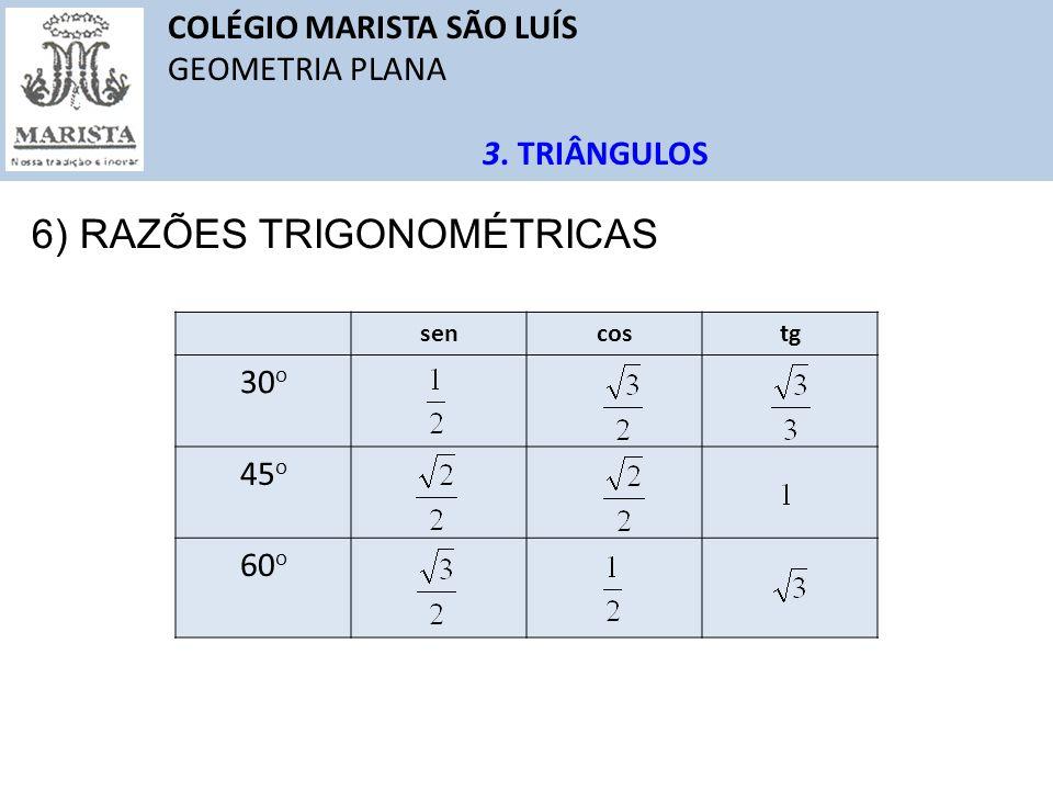 COLÉGIO MARISTA SÃO LUÍS GEOMETRIA PLANA 3. TRIÂNGULOS 6) RAZÕES TRIGONOMÉTRICAS sencostg 30 o 45 o 60 o