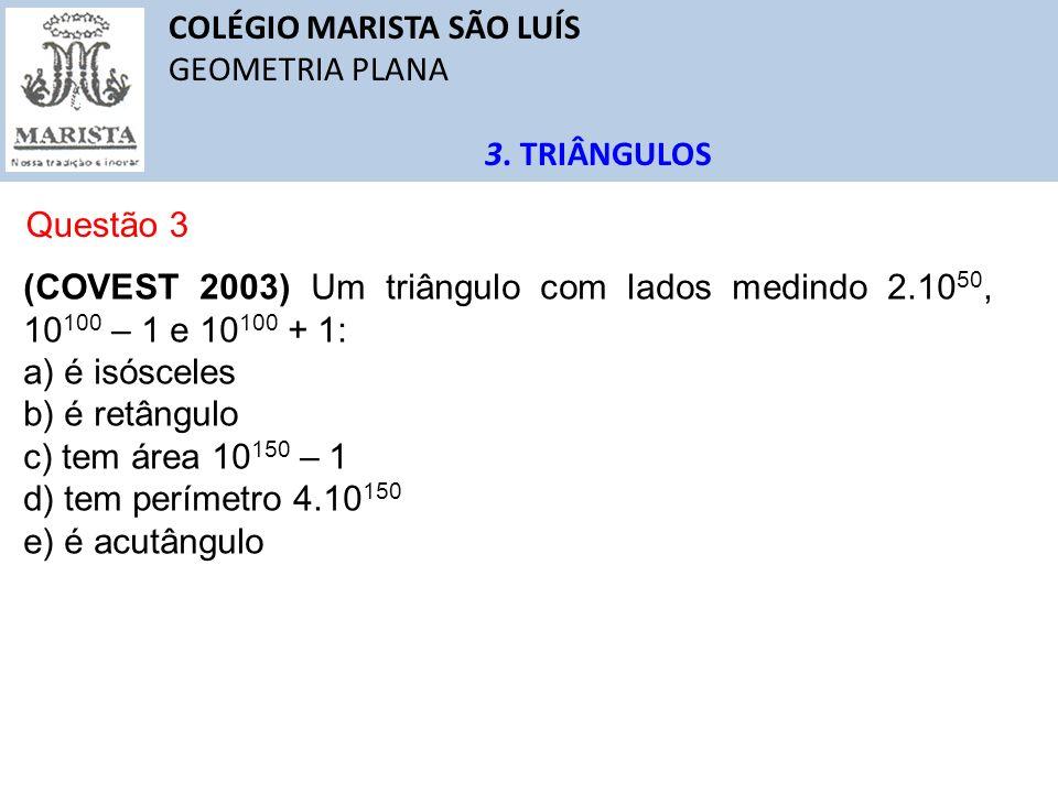 COLÉGIO MARISTA SÃO LUÍS GEOMETRIA PLANA 3. TRIÂNGULOS Questão 3 (COVEST 2003) Um triângulo com lados medindo 2.10 50, 10 100 – 1 e 10 100 + 1: a) é i