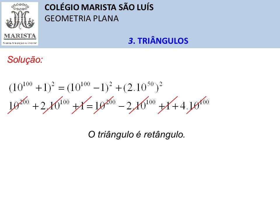 COLÉGIO MARISTA SÃO LUÍS GEOMETRIA PLANA 3. TRIÂNGULOS Solução: O triângulo é retângulo.