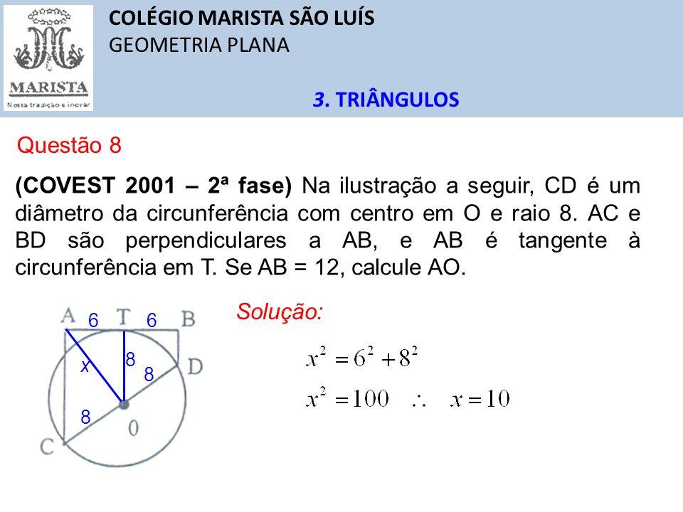 COLÉGIO MARISTA SÃO LUÍS GEOMETRIA PLANA 3. TRIÂNGULOS Questão 8 (COVEST 2001 – 2ª fase) Na ilustração a seguir, CD é um diâmetro da circunferência co