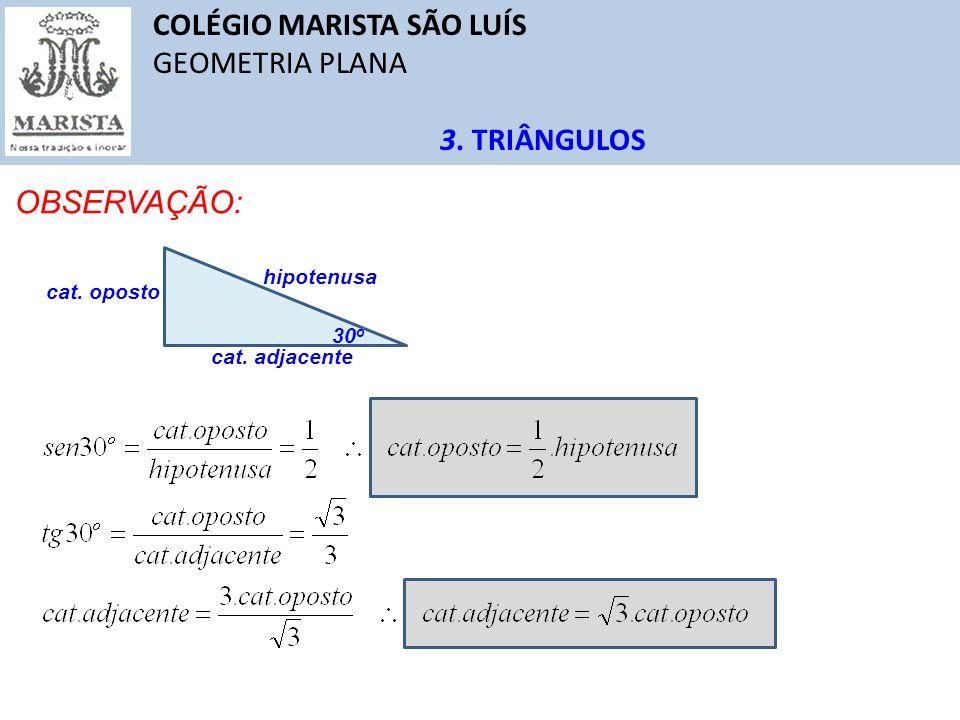 COLÉGIO MARISTA SÃO LUÍS GEOMETRIA PLANA 3. TRIÂNGULOS OBSERVAÇÃO: 30 o cat. oposto hipotenusa cat. adjacente
