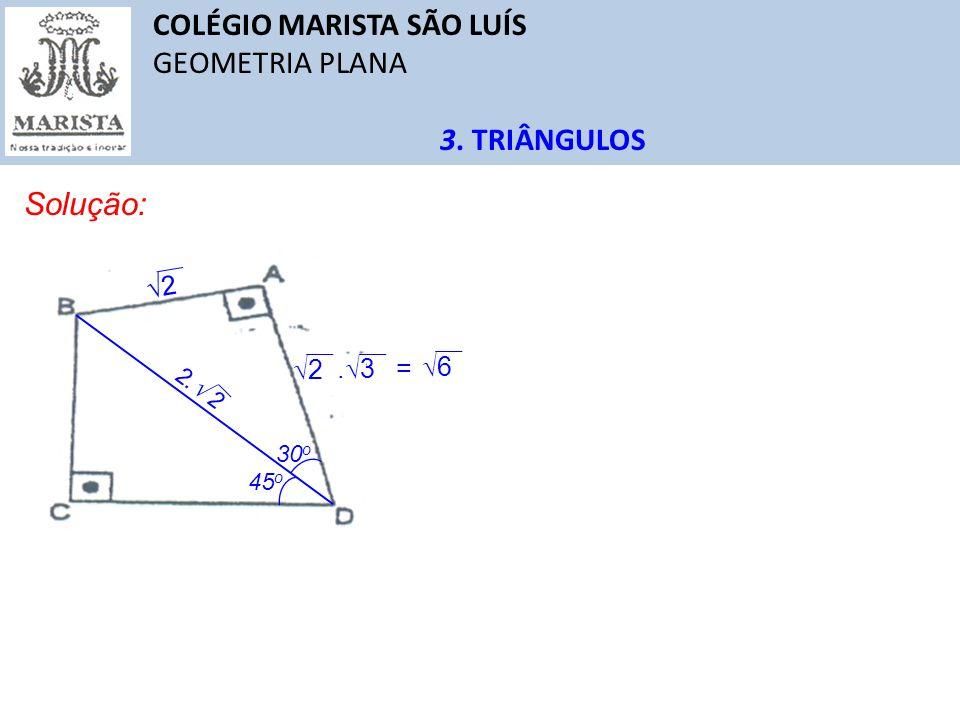 COLÉGIO MARISTA SÃO LUÍS GEOMETRIA PLANA 3. TRIÂNGULOS Solução: 45 o 30 o 2. 2 2 2. 3 6 =