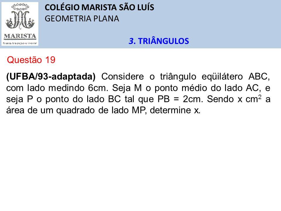 COLÉGIO MARISTA SÃO LUÍS GEOMETRIA PLANA 3. TRIÂNGULOS Questão 19 (UFBA/93-adaptada) Considere o triângulo eqüilátero ABC, com lado medindo 6cm. Seja
