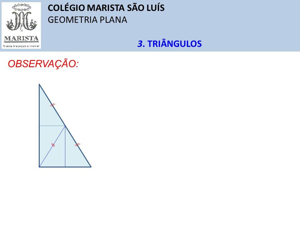 COLÉGIO MARISTA SÃO LUÍS GEOMETRIA PLANA 3. TRIÂNGULOS OBSERVAÇÃO: