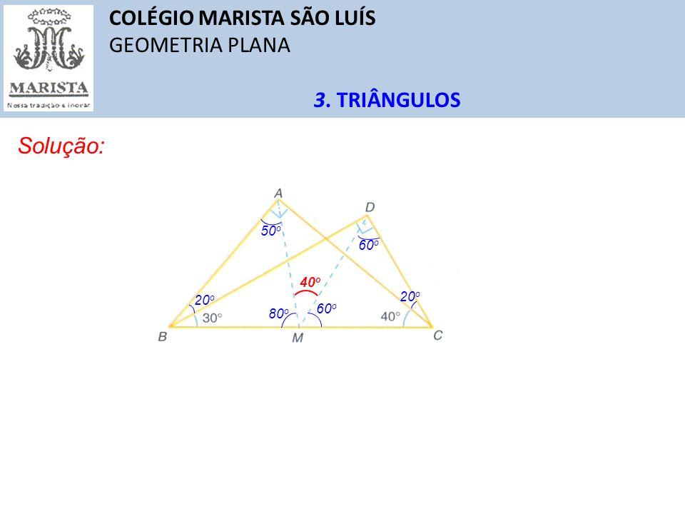 COLÉGIO MARISTA SÃO LUÍS GEOMETRIA PLANA 3. TRIÂNGULOS Solução: 20 o 50 o 80 o 60 o 40 o