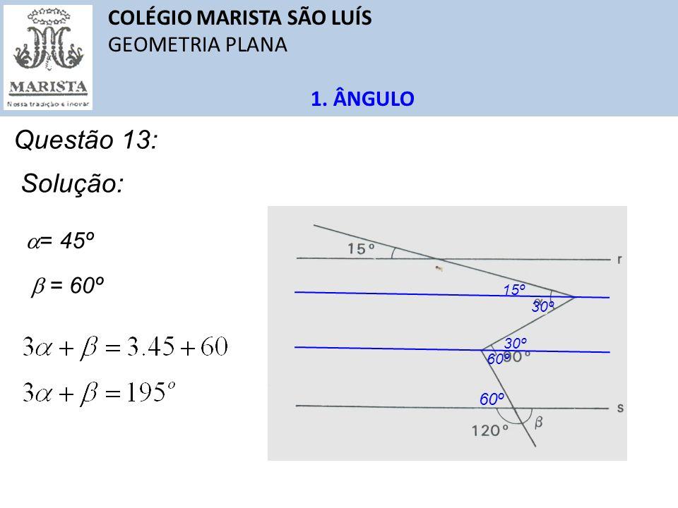 COLÉGIO MARISTA SÃO LUÍS GEOMETRIA PLANA 1. ÂNGULO Questão 13: Solução: 15º 60º 30º = 60º = 45º