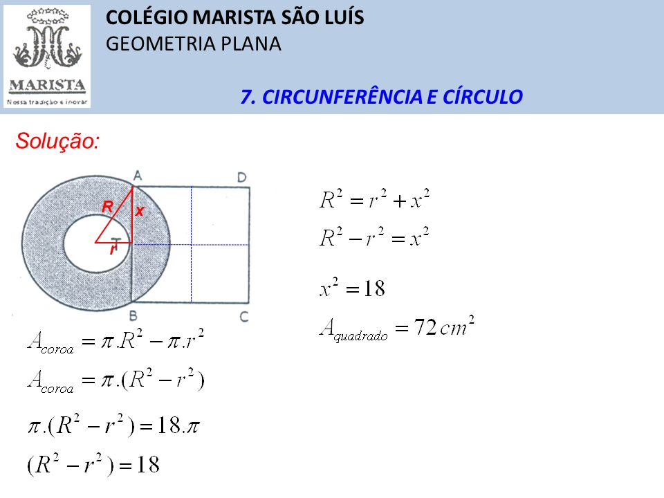 COLÉGIO MARISTA SÃO LUÍS GEOMETRIA PLANA 7. CIRCUNFERÊNCIA E CÍRCULO Solução: R r x