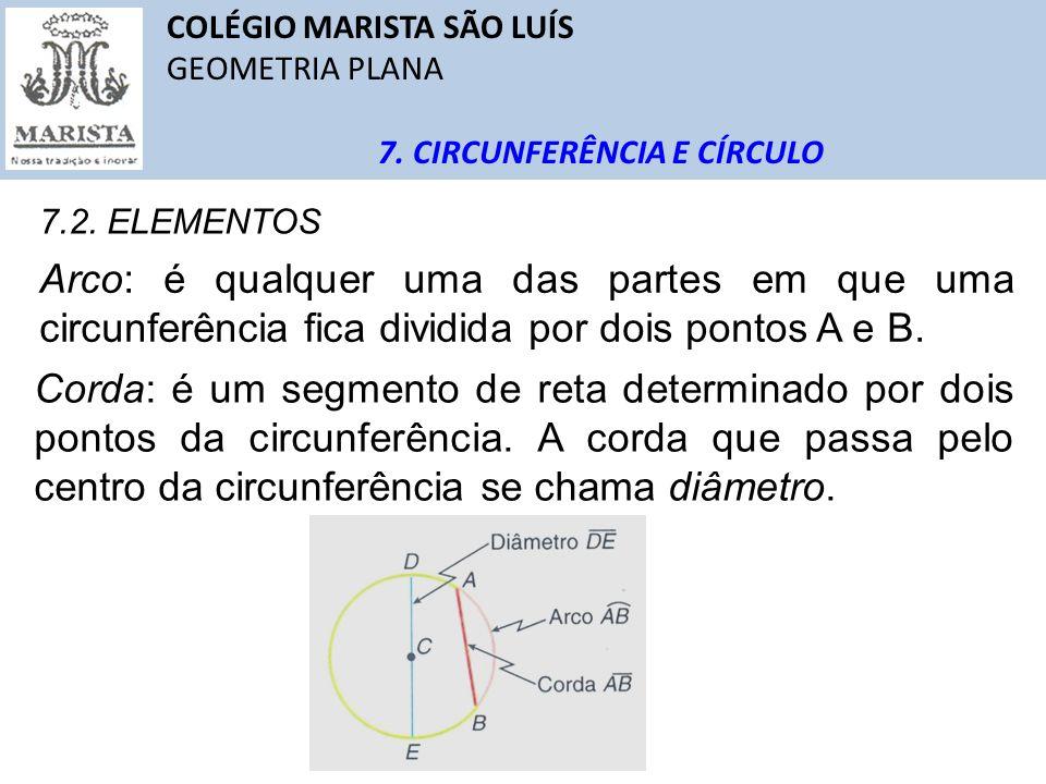 COLÉGIO MARISTA SÃO LUÍS GEOMETRIA PLANA 7. CIRCUNFERÊNCIA E CÍRCULO 7.2. ELEMENTOS Arco: é qualquer uma das partes em que uma circunferência fica div