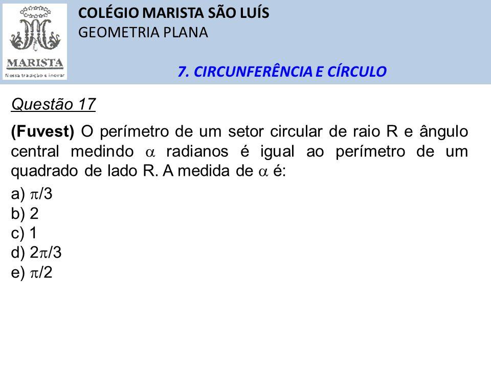 COLÉGIO MARISTA SÃO LUÍS GEOMETRIA PLANA 7. CIRCUNFERÊNCIA E CÍRCULO Questão 17 (Fuvest) O perímetro de um setor circular de raio R e ângulo central m