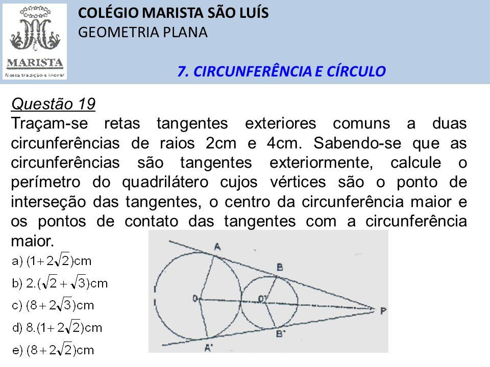 COLÉGIO MARISTA SÃO LUÍS GEOMETRIA PLANA 7. CIRCUNFERÊNCIA E CÍRCULO Questão 19 Traçam-se retas tangentes exteriores comuns a duas circunferências de