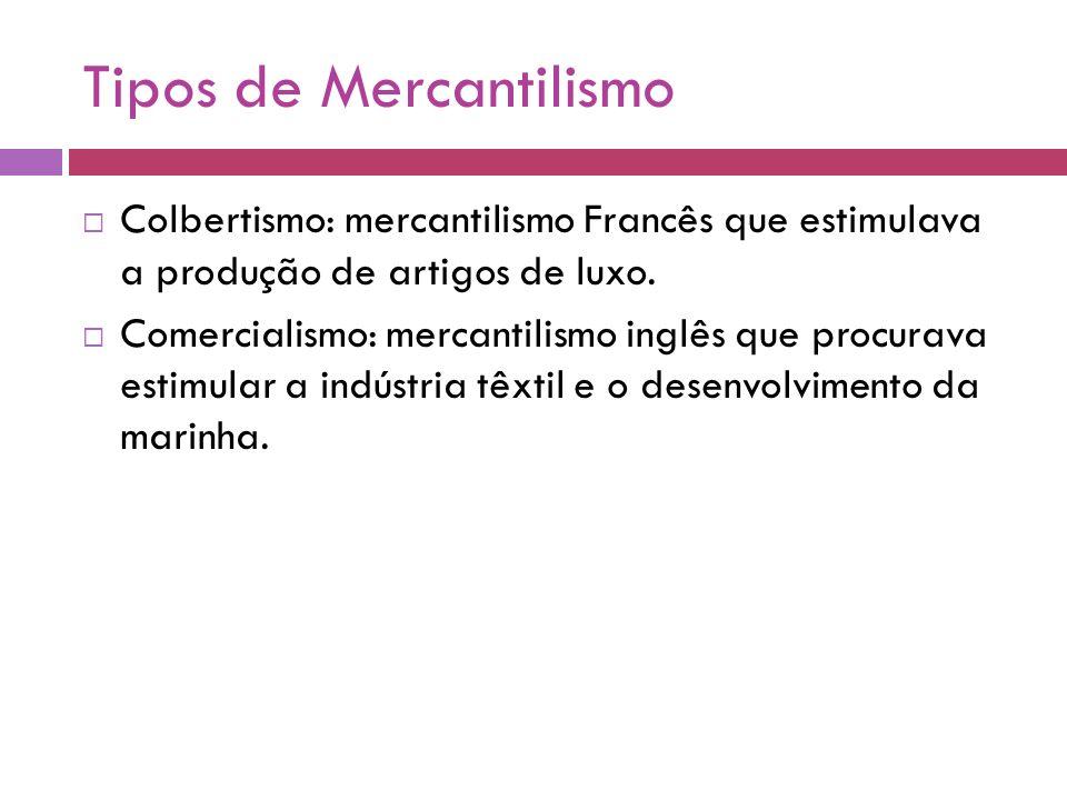 Tipos de Mercantilismo Colbertismo: mercantilismo Francês que estimulava a produção de artigos de luxo. Comercialismo: mercantilismo inglês que procur