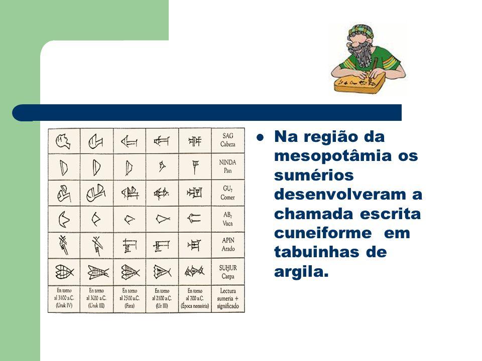 Na região da mesopotâmia os sumérios desenvolveram a chamada escrita cuneiforme em tabuinhas de argila.