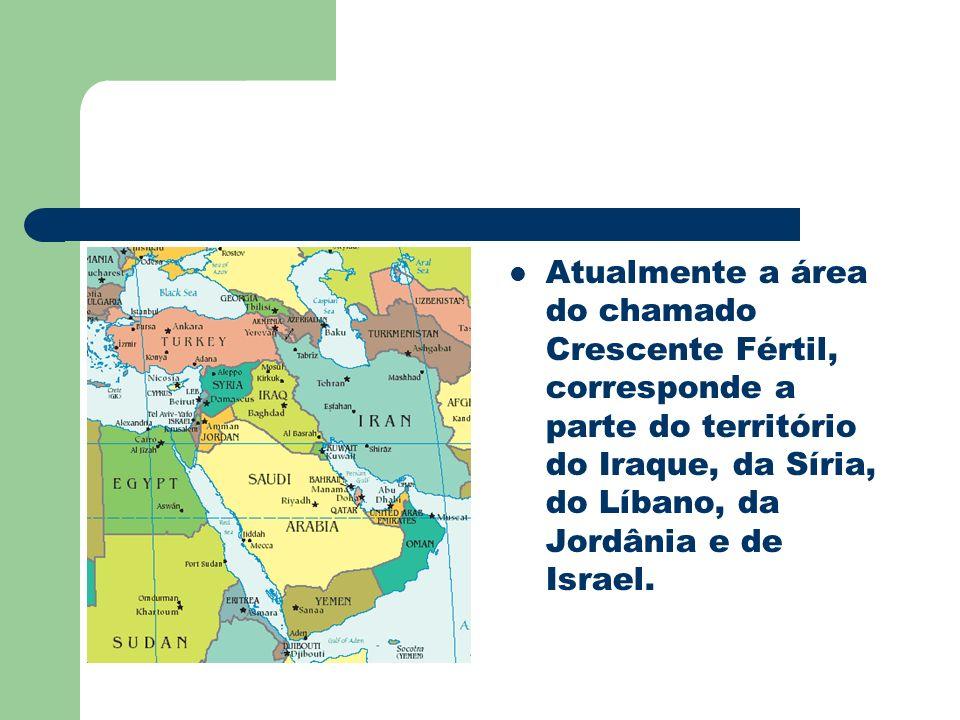 Atualmente a área do chamado Crescente Fértil, corresponde a parte do território do Iraque, da Síria, do Líbano, da Jordânia e de Israel.