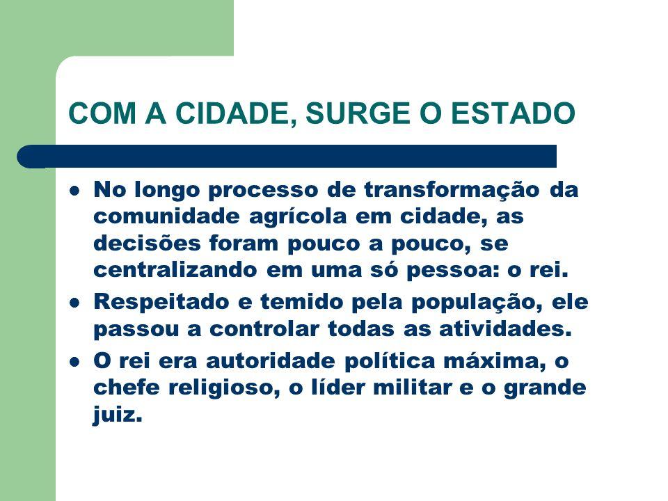 COM A CIDADE, SURGE O ESTADO No longo processo de transformação da comunidade agrícola em cidade, as decisões foram pouco a pouco, se centralizando em