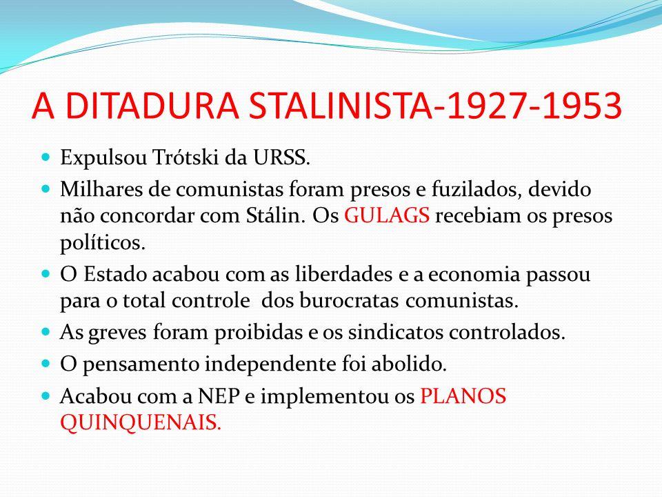 A DITADURA STALINISTA-1927-1953 Expulsou Trótski da URSS.